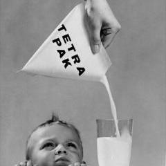 Tetra Pak milk carton advertisement, 1950. The tetrahedron-shaped carton gave the Tetra Pak company its name. Credit: T