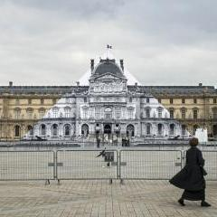 JR makes Louvre pyramid disappear
