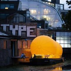 The inflatable 'antepavilion' by Thomas Randall-Page and Benedetta Rogers is afloat on the Regents Canal