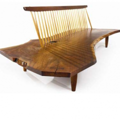 George Nakashima, Conoid Bench from the Rockefeller Japanese House, Pocantico Hills, NY, c1974. Exhibited by Sebastian + Barquet
