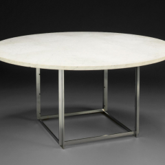PK54 Chrome-plated steel and marble circular dining table designed 1963  by Poul Kjærholm