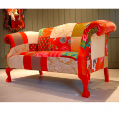'Canterbury Orange Patch' sofa by Lisa Whatmough @ Squint