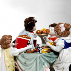 'Family Feast' by Barnaby Barford 2009 – Porcelain, Earthenware, Enamel Paint, Painted Wooden Base, Other Media