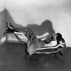 Charlotte Perriand on LC4 chaise longue designed in collaboration wih Le Corbusier