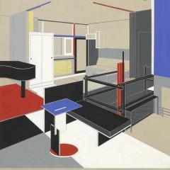 Interior of the Rietveld Schröder House with the girl's sleeping area (1924)