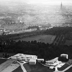 Aerial shot of the HfG building in Ulm 1955