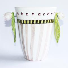 Pot/Vase with Hanging Leaves by Véronique Rivemale