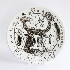 One Off PLate with Hand-drawn Decoration by Aki Kuroda