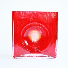 Small Red Square Vase by Christian Tortu