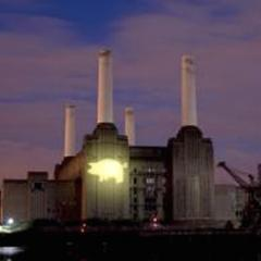 Battersea lit up by a 'Power to the People' projection, 7th July 2008