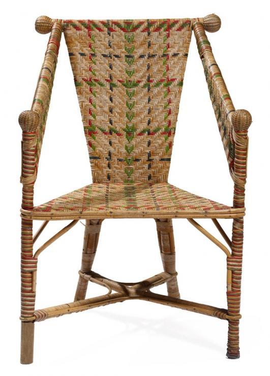 ADOLF LOOS (1970-1933) Fauteuil Rotin tréssé et bois Réalisé par Prag-Rudniker Vers 1900 H_91 cm L_62 cm… 3,000 - 4,000 €