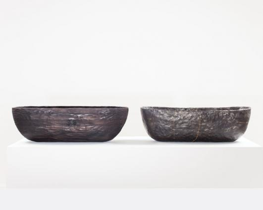 Laminated Pinewood Bowl, Charred. Smolder-fired Earthenware Bowl, Cracked and Mended by Anders Ruhwald