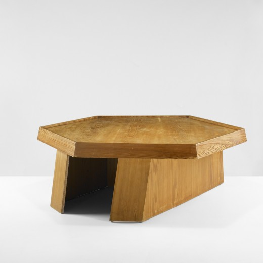 Frank Lloyd Wright, coffee table, 1939, estimated at $20,000–30,000, sold for $50,000