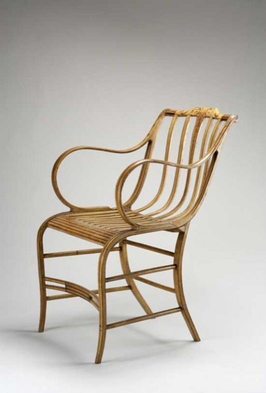 Samuel Gragg, American, 1772-c. 1855; Fully Elastic Armchair, c. 1810, painted wood, probably white oak, soft maple, and hickory; Carnegie Museum of Art, Berdan Memorial Trust Fund