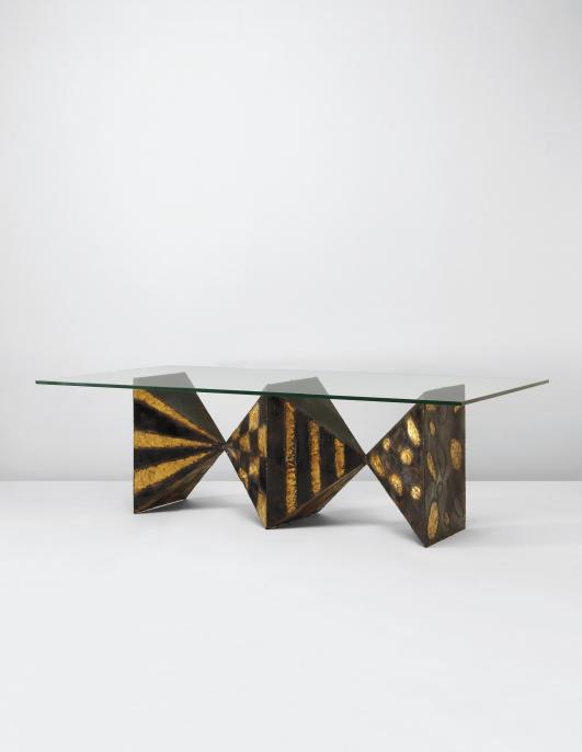 "PAUL EVANS Dining table, model no. PE-21, from the ""Sculptured ..., circa 1965 Estimate $30,000 - 40,000"