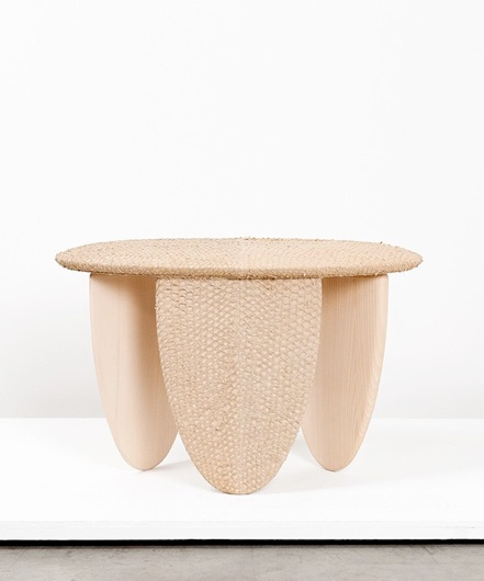 Perch stool: Vegetal tanned perch skin, lime wood, brass label