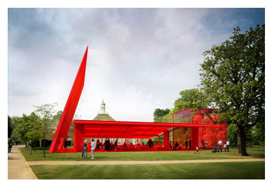 Exterior view of Jean Nouvel's design for the 2010 Serpentine Pavilion
