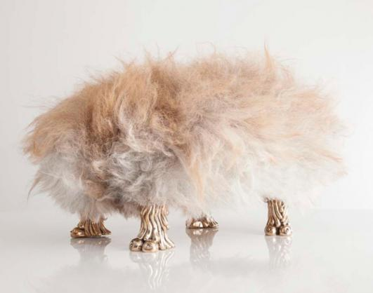 "Unique ""Ed Bel-fur"", from the Beast series, in brown Icelandic Sheepskin with coyote feet and dong in cast bronze. Designed and made by the Haas Brothers"