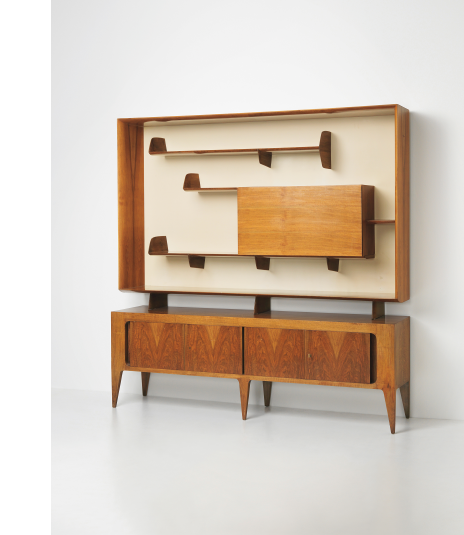 GIO PONTI Integrated sideboard and bookcase, circa 1951  Estimate £15,000 - 20,000