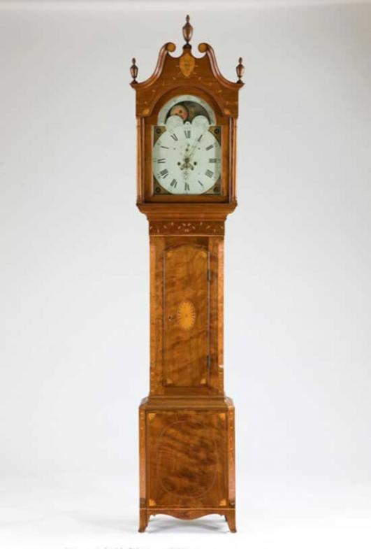 Attributed to William Cock, cabinetmaker, American, b. England, 1776-1856; Tall case clock, c. 1800, walnut with inlay of maple and other light woods, tulip poplar, brass, lead, and painted iron; Carnegie Museum of Art