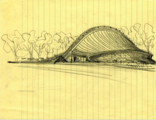 Eero Saarinen, Sketch of David S. Ingalis Hockey Rink, Yale University, New Haven, Connecticut - circa 1953 Courtesy Eero Saarinen Collection. Manuscripts and Archives, Yale University