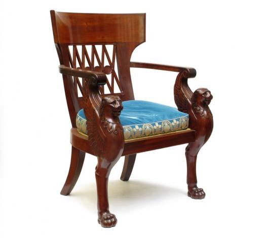 Steinitz Paris: Large Mahogany ''Fauteuil de la Convention'' from the collection of the prince de La Tour d'Auvengne by Charles Percier & Jacob Brothers in 1792-1797