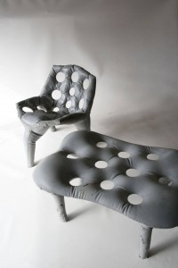 Concrete Chair and Side Table by Tejo Remy & Rene Veenhuizen