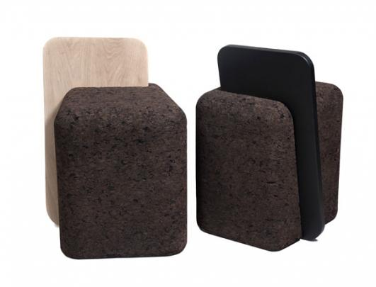 'Cut Stool' Natural Black Cork and Oak