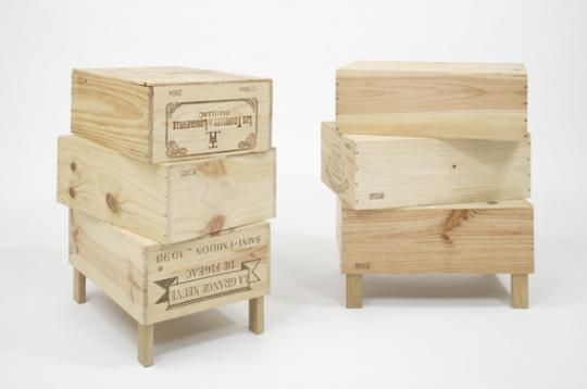 'Wood-Be Side Tables' by Rabih Hage for his 2009 'Roughed Up' Collections