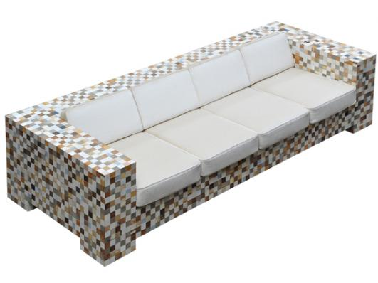 Waste waste upholstered bench by Piet Hein Eek