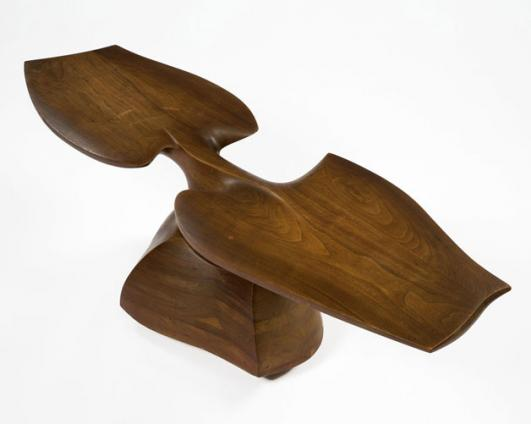 "Unique sculptural coffee table in stack-laminated walnut. Designed and made by Wendell Castle, Rochester, New York, 1966. Signed and dated, ""WC 66."""