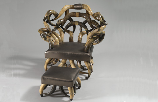 Longhorn Armchair and Ottoman Attributed to Wenzel Friedrich - Photo Credit - Andrew Garn