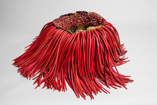aetano Pesce, Vase with Hair, 2015, polyurethane resin, 11 x 13 3/8  x 12 3/16 in. (28 x 34 x 31 cm), courtesy of Gaetano Pesce, New York, photo by Sebastian Piras