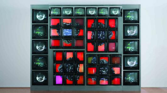 Nam June Paik, Internet Dream (1994), video sculpture, 287 x 380 x 80 cm. ZKM | Collection © (2008) ZKM | Center for Art and Media Karlsruhe, Photo: Steffen Harms
