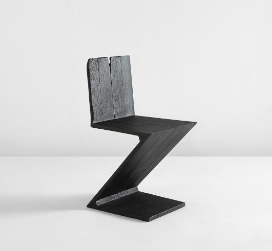 "MAARTEN BAAS ""Zig Zag"" chair from the ""Where There's Smoke"" serie..., 2004 Estimate $10,000 - 15,000"
