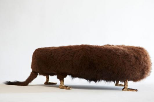 Unique Beast bench with Wyoming Buffalo fur and cast bronze Chester Cheetah feet. Designed and made by The Haas Brothers, Los Angeles, CA, 2013.