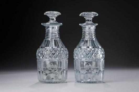 Bakewell, Page and Bakewell, American, under name 1813–1827; Water decanters, 1818–1819, glass; Carnegie Museum of Art, Ailsa Mellon Bruce Fund, 2011.16.A–.B, 2011.8.A–.B