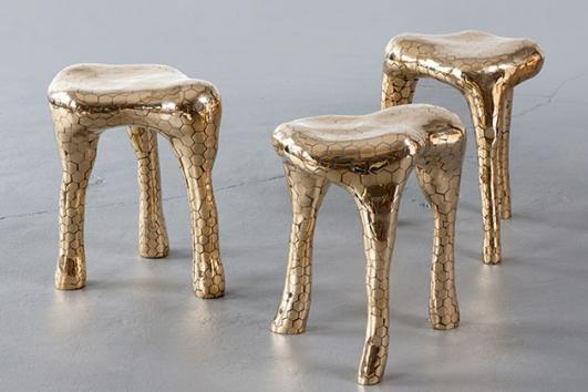 Unique Hex stool in brass. Designed and made by The Haas Brothers, Los Angeles, CA, 2012.