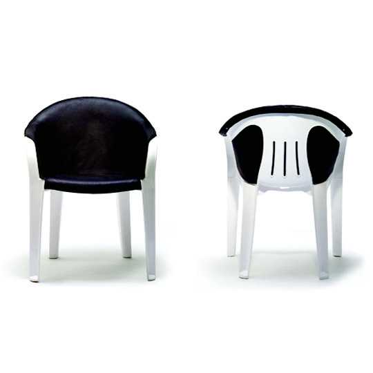 Plastic armchair upholstered in black leather, by Swedish designer team Front, 2006