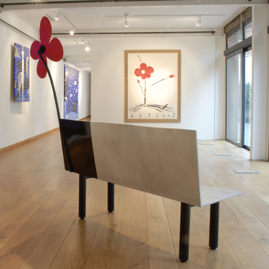Back view of Aki Kuroda FLower Bench