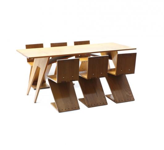 Gerrit Th. Rietveld. ZigZag table with 6 ZigZag chairs (set) from grandson Rietveld, c. 1960, photo: Galerie VIVID