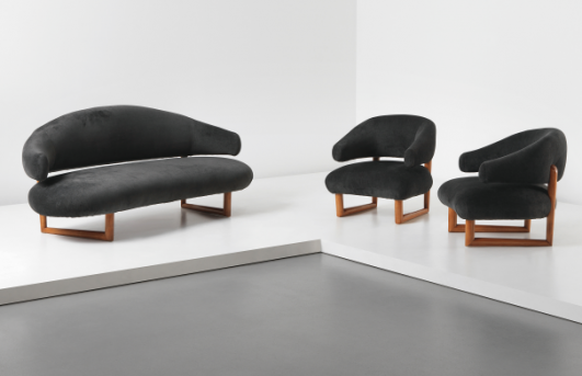JEAN ROYÈRE 'Sculpture' sofa and pair of armchairs, circa 1956 Estimate £200,000 - 300,000