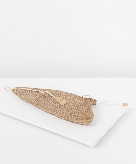 Perch fish hot water bag: Vegetal tanned perch skin, glass, brass