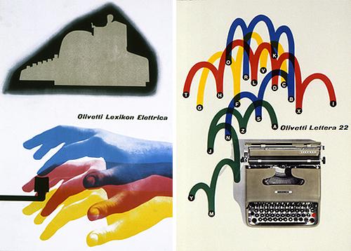 Giovanni Pintori, Olivetti Lexikon Elettrica, 1936. Gift & Giovanni Pintori, Olivetti Lettera 22, 1950