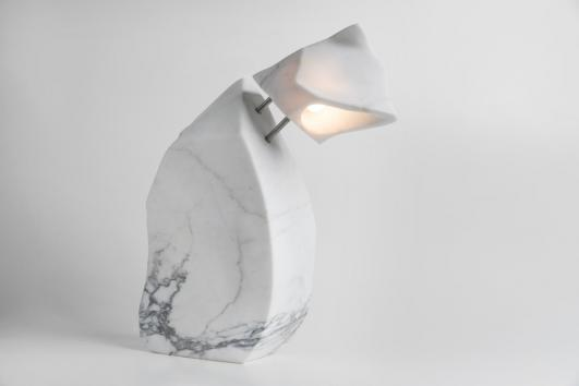 FLOOD SERIES TABLE LAMP HAND CARVED STATUARY MARBLE FABRICATED IN ITALY WITH HAND TURNED AND FORMED STAINLESS STEEL ELEMENTS/ TOUCH DIMMER