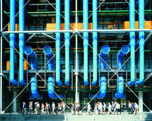 Centre Pompidou Colour-Coded External Services by Richard Rogers