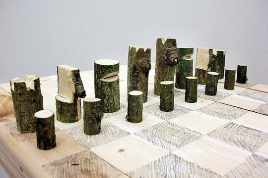 Log Chess Set, Peter Marigold, 2012