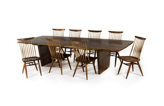 Sebastian + Barquet ''Minguren III'' dining table with set of eight ''New'' chairs by George Nakashima in 1976.