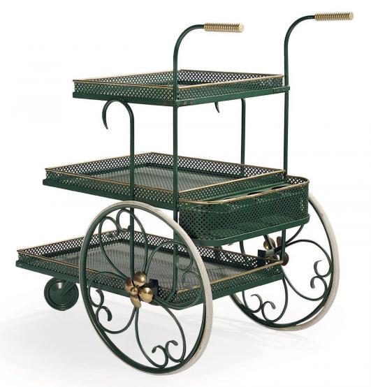 JOSEF FRANK (1885-1967) Desserte Fer forgé laqué vert Édition Svenskt Tenn Vers 1930 H_84 cm L_52 cm P_80… 1,500 - 2,000 €