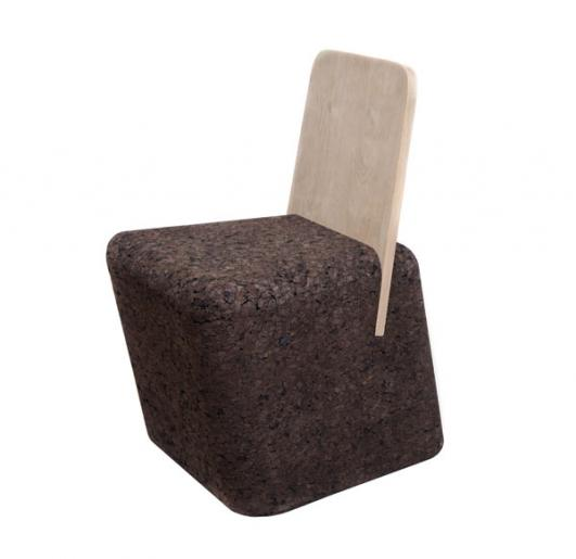 'Cut Chair' Natural Black Cork and Oak